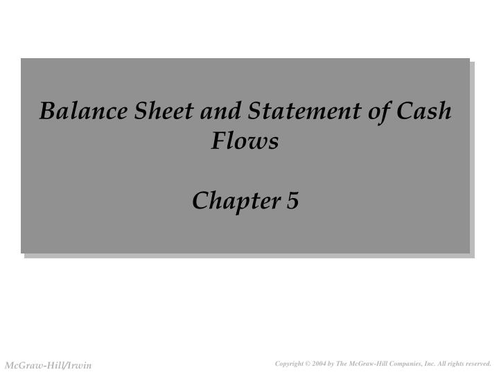 balance sheet and statement of cash flows chapter 5 n.