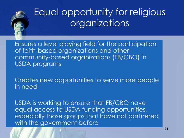 Equal opportunity for religious organizations