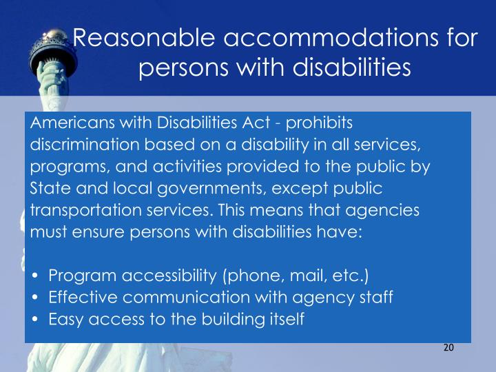 Reasonable accommodations for persons with disabilities