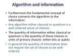 algorithm and information