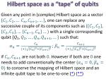 hilbert space as a tape of qubits