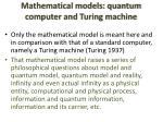 mathematical models quantum computer and turing machine