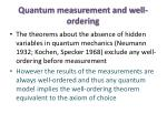 quantum measurement and well ordering
