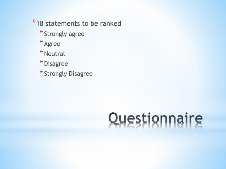 18 statements to be ranked