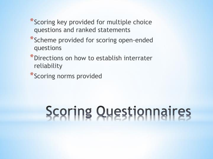 Scoring key provided for multiple choice questions and ranked statements