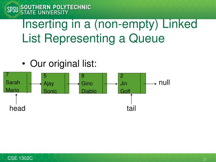 Inserting in a (non-empty) Linked List Representing a Queue