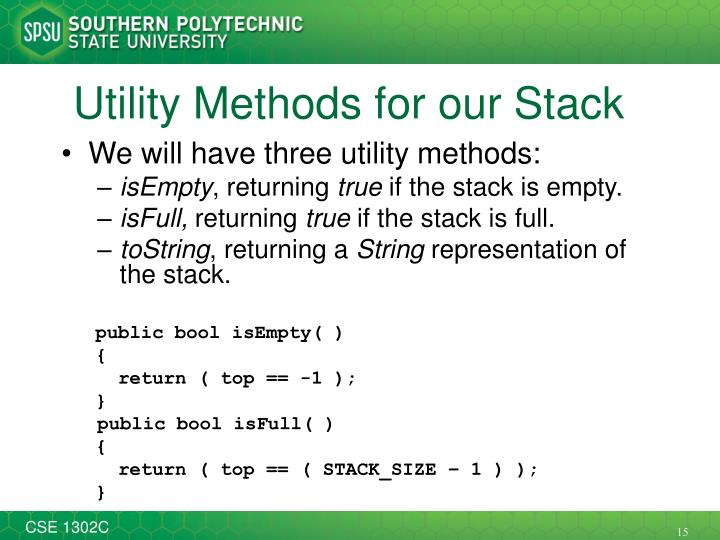 Utility Methods for our Stack
