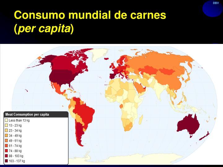 Consumo mundial de carnes