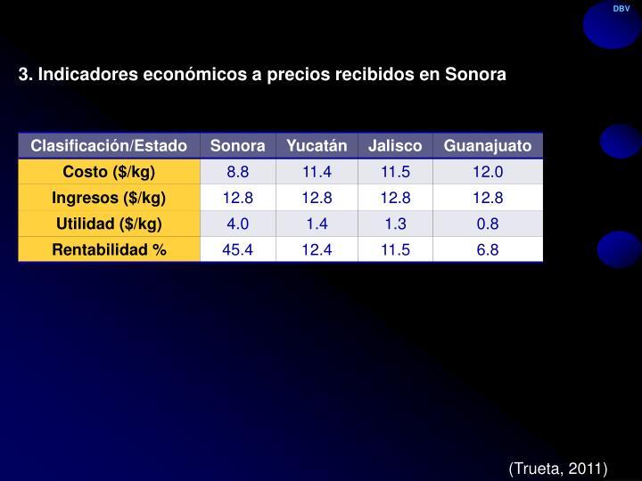 3. Indicadores económicos a precios recibidos en Sonora
