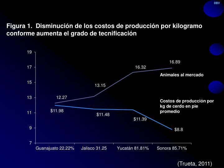 Figura 1.  Disminución de los costos de producción por kilogramo conforme aumenta el grado de tecnificación