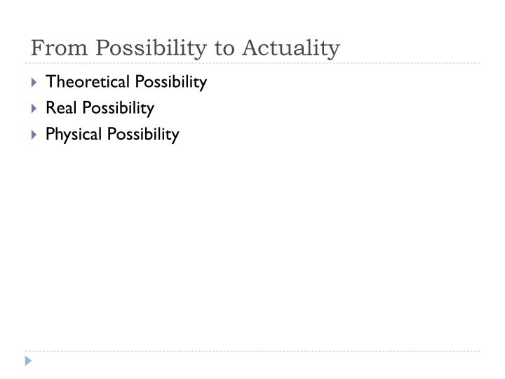 From Possibility to Actuality