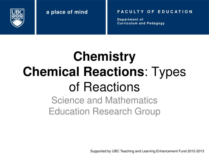 chemistry chemical reactions types of reactions n.