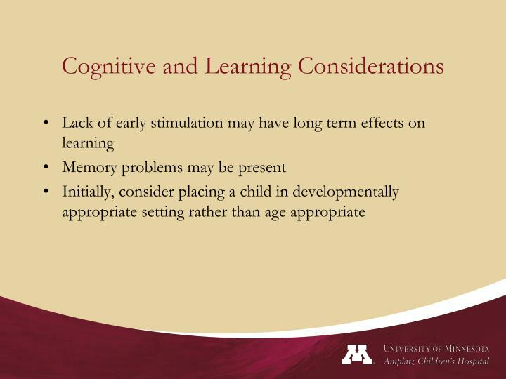 Cognitive and Learning Considerations