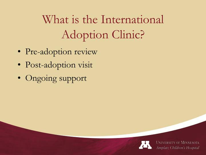 What is the international adoption clinic