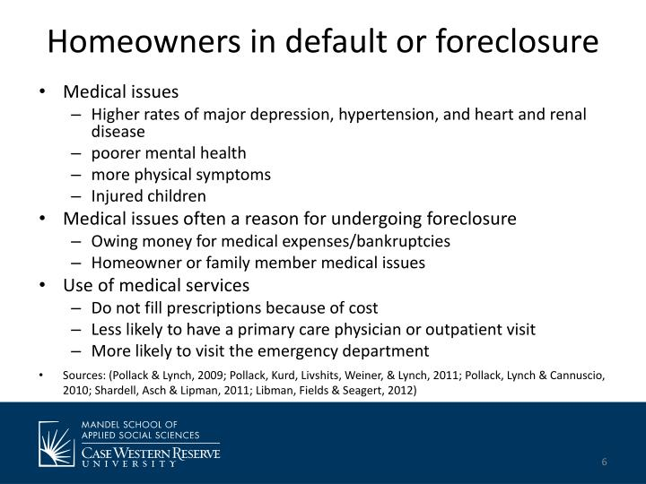 Homeowners in default or foreclosure