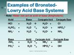 examples of bronsted lowry acid base systems