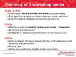 overview of 3 workshop series