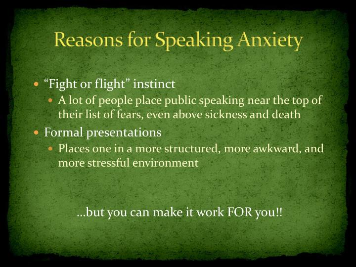 Reasons for Speaking Anxiety