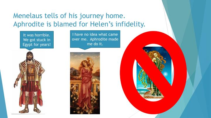 Menelaus tells of his journey home.  Aphrodite is blamed for Helen's infidelity.