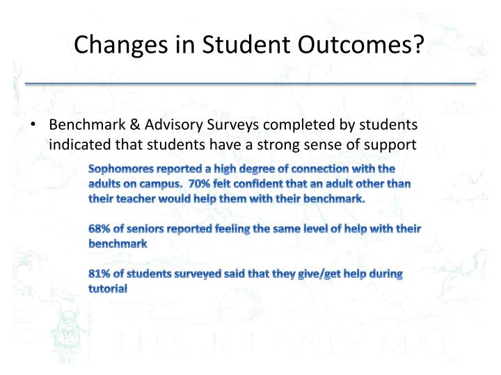 Changes in student outcomes
