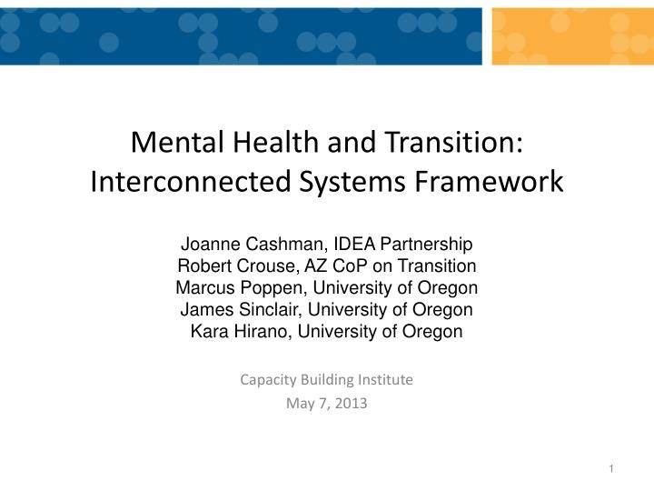 mental health and transition interconnected systems framework n.