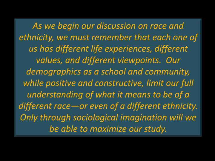 As we begin our discussion on race and ethnicity, we must remember that each one of us has different life experiences, different values, and different viewpoints.  Our demographics as a school and community, while positive and constructive, limit our full understanding of what it means to be of a different race—or even of a different ethnicity.  Only through sociological imagination will we be able to maximize our study.