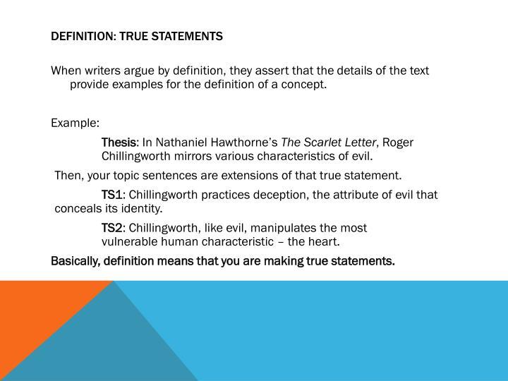 Definition: True Statements
