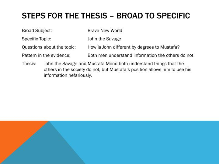 Steps for the Thesis – Broad to specific