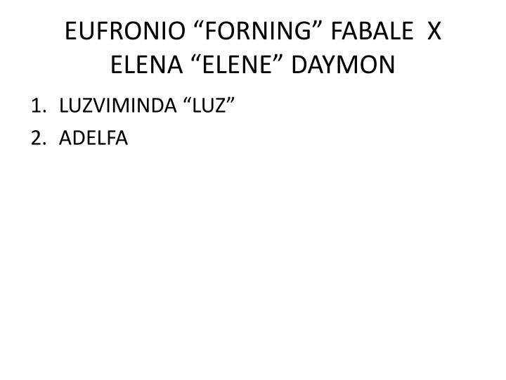 "EUFRONIO ""FORNING"" FABALE  X  ELENA ""ELENE"" DAYMON"