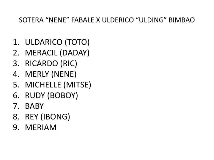 """SOTERA """"NENE"""" FABALE X ULDERICO """"ULDING"""" BIMBAO"""