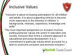 inclusive values