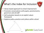 what s the index for inclusion