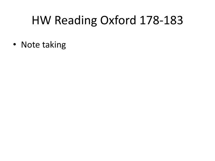 HW Reading Oxford 178-183