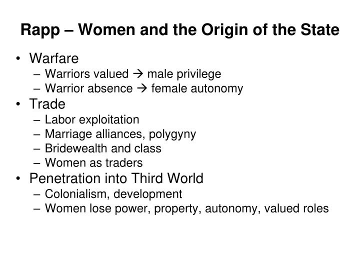 Rapp – Women and the Origin of the State
