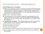 caa notification nz experience