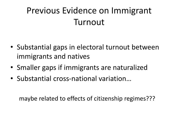 Previous Evidence on Immigrant Turnout