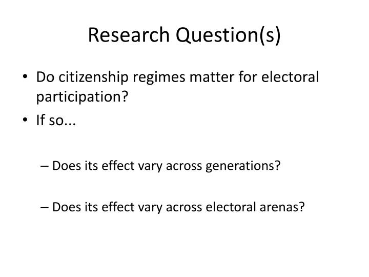 Research question s