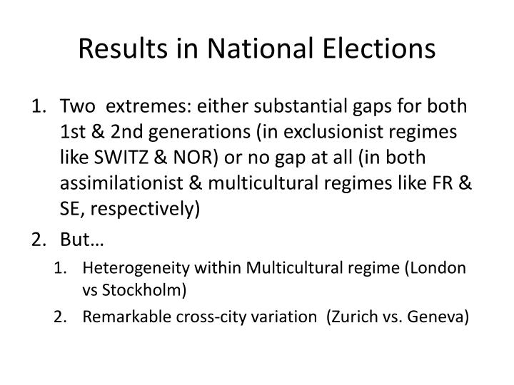 Results in National Elections