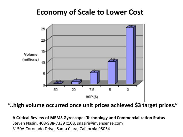 Economy Of Scale To Lower Cost High Volume Occurred Once Unit Prices Achieved 3 Target A Critical Review MEMS Gyroscopes Technology