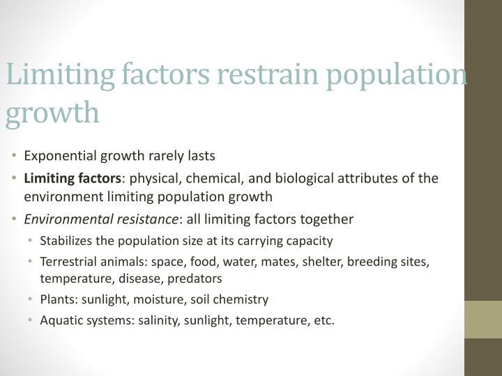 Limiting factors restrain population growth