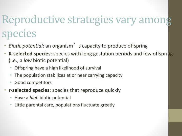 Reproductive strategies vary among species