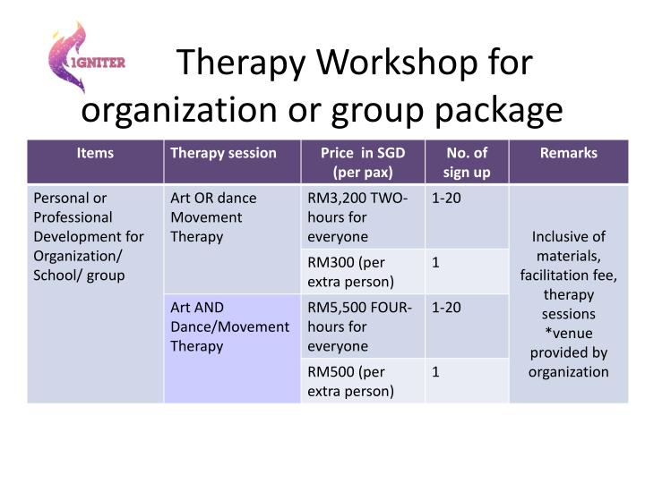 Therapy Workshop for organization or group package