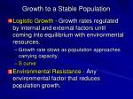 growth to a stable population