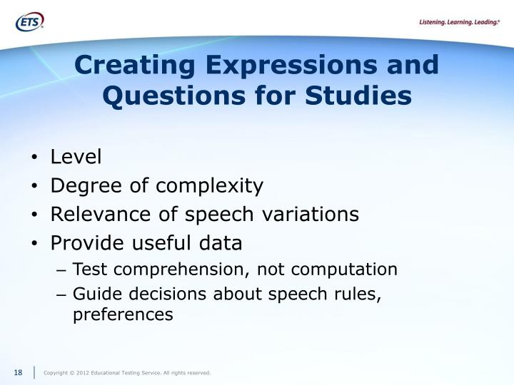 Creating Expressions and Questions for Studies