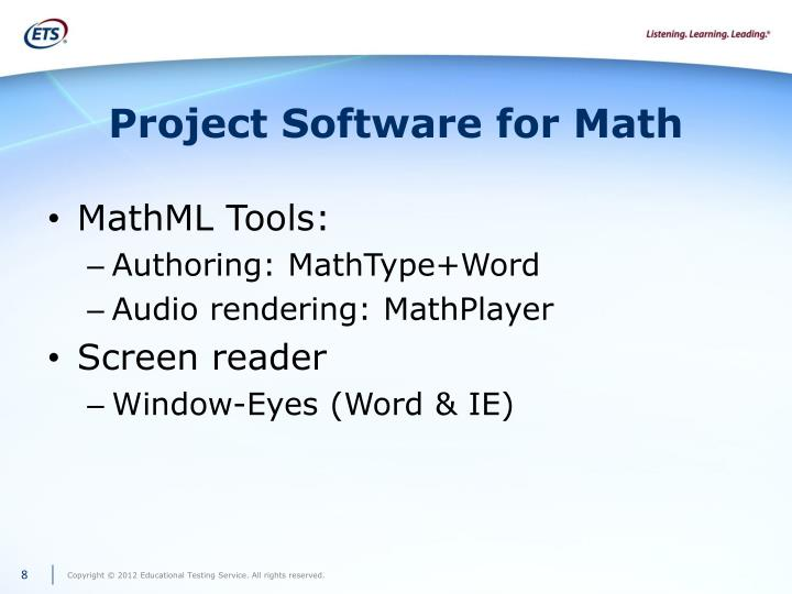 Project Software for Math