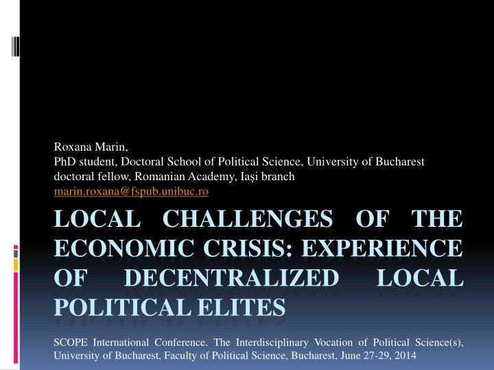 local challenges of the economic crisis experience of decentralized local political elites n.