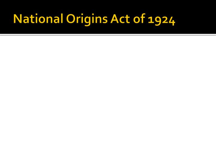 National Origins Act of