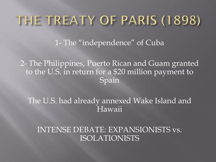 THE TREATY OF PARIS (1898)