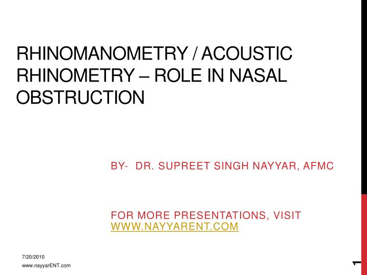 Rhinomanometry acoustic rhinometry role in nasal obstruction