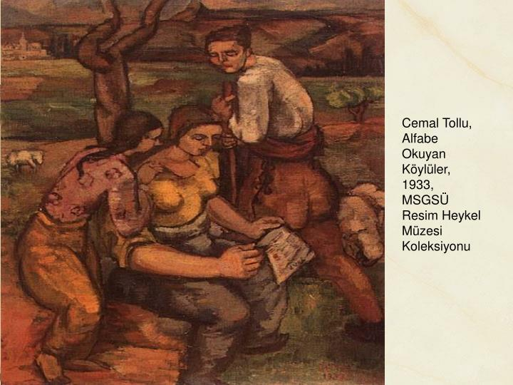 Cemal Tollu, Alfabe Okuyan Köylüler, 1933, MSGSÜ Resim Heykel Müzesi Koleksiyonu